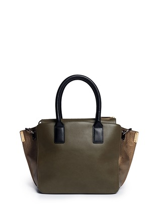 Back View - Click To Enlarge - TIME'S ARROW - 'Jo' mini duo colour leather tote