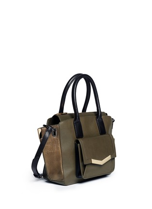 Front View - Click To Enlarge - TIME'S ARROW - 'Jo' mini duo colour leather tote