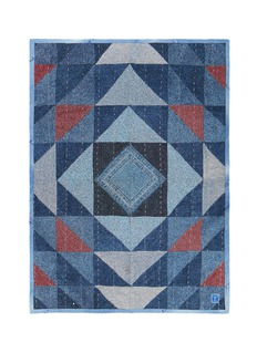 Album Vintage denim trim geometric jacquard blanket