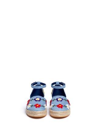 Figure View - Click To Enlarge - Stella Mccartney Kids - 'Flora' felt appliqué denim kids espadrilles