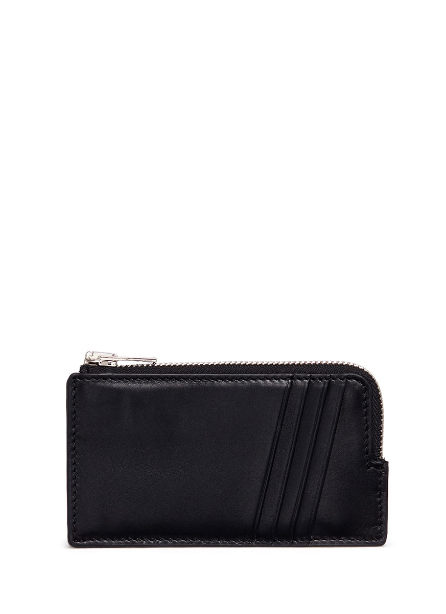 Croc embossed panel leather zip card holder by Alexander Wang