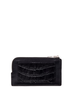 Alexander Wang  Croc embossed panel leather zip card holder
