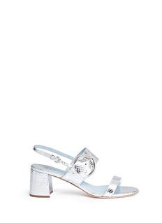 Frances Valentine'Betty' snake embossed leather slingback sandals