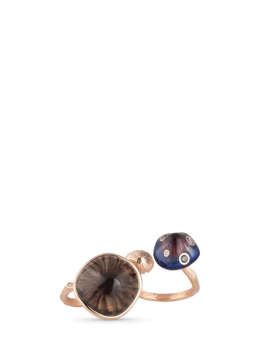 Mushroom diamond garnet quartz 18k rose gold two finger ring by Heting
