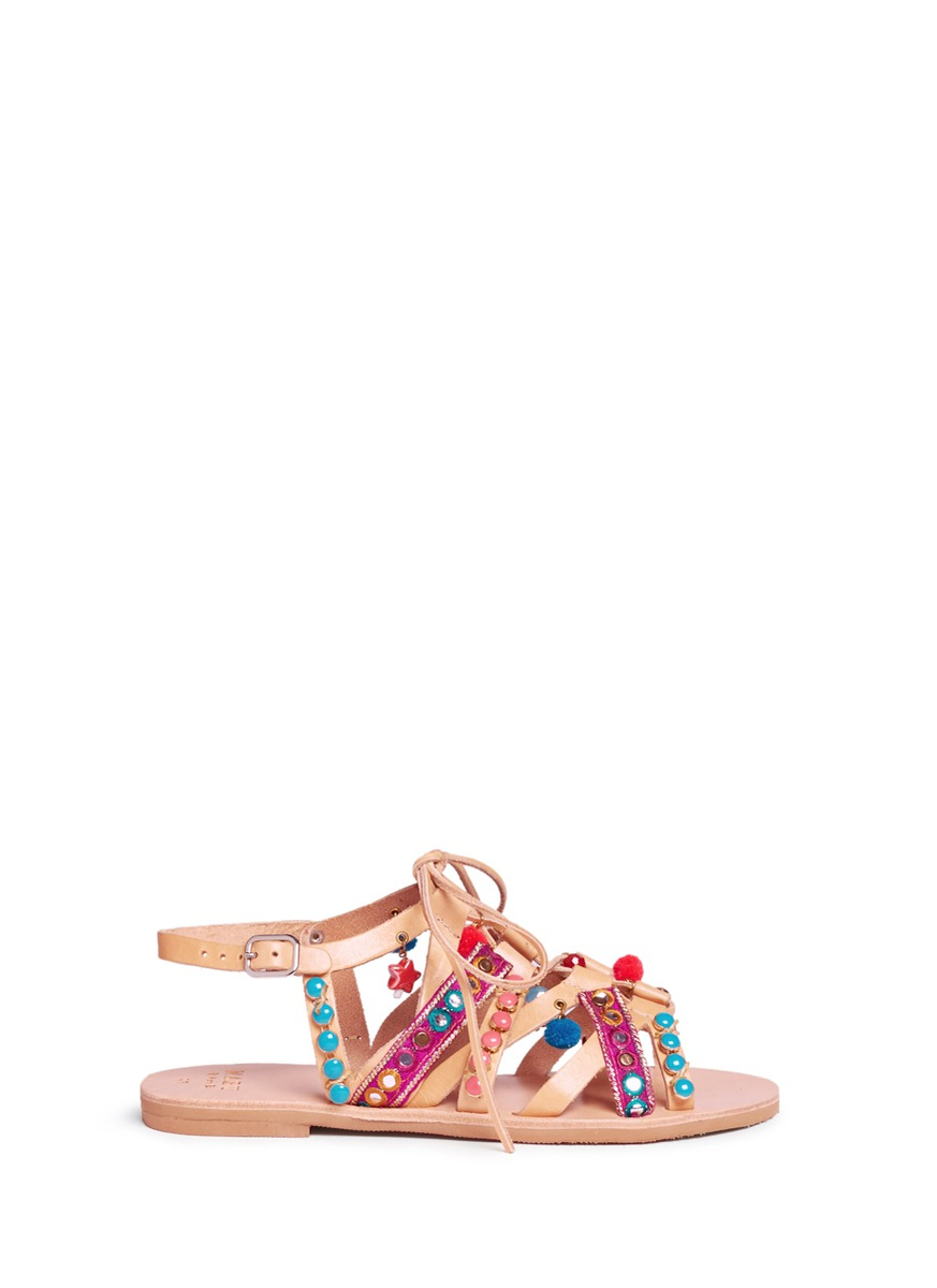 Adeyta pompom embellished caged lace-up leather sandals by MABU by Maria BK