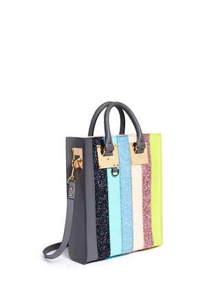 Detail View - Click To Enlarge - Sophie Hulme - 'Albion' mini glitter rainbow stripe leather box tote