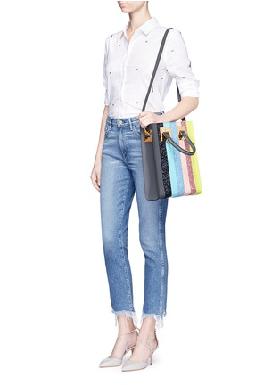 Front View - Click To Enlarge - Sophie Hulme - 'Albion' mini glitter rainbow stripe leather box tote