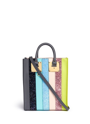 Main View - Click To Enlarge - Sophie Hulme - 'Albion' mini glitter rainbow stripe leather box tote