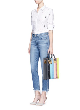 Figure View - Click To Enlarge - Sophie Hulme - 'Albion' mini glitter rainbow stripe leather box tote