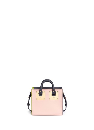 Detail View - Click To Enlarge - Sophie Hulme - 'Albion' glitter rainbow stripe leather box tote