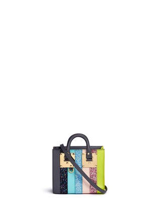 Main View - Click To Enlarge - Sophie Hulme - 'Albion' glitter rainbow stripe leather box tote