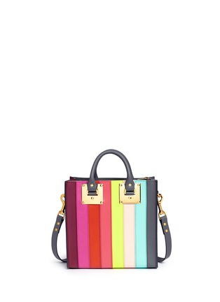 Detail View - Click To Enlarge - Sophie Hulme - 'Albion Square' rainbow stripe leather tote