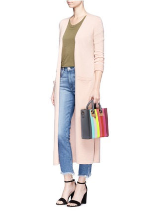 Front View - Click To Enlarge - Sophie Hulme - 'Albion Square' rainbow stripe leather tote