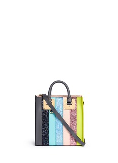 Sophie Hulme 'Albion' mini glitter rainbow stripe leather box tote
