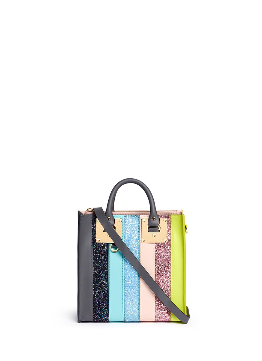 Albion mini glitter rainbow stripe leather box tote by Sophie Hulme