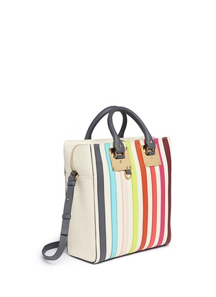 Detail View - Click To Enlarge - Sophie Hulme - 'Cromwell Mini' rainbow stripe canvas tote