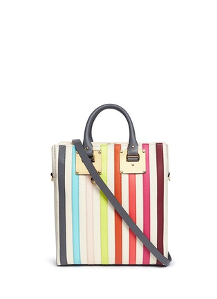 Main View - Click To Enlarge - Sophie Hulme - 'Cromwell Mini' rainbow stripe canvas tote