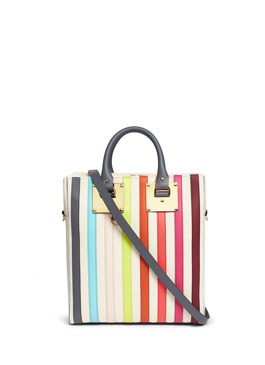 Cromwell Mini rainbow stripe canvas tote by Sophie Hulme