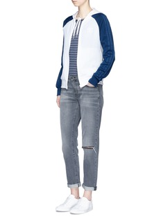 Adidas'Girlie' 3-Stripe colourblock drawstring zip hoodie