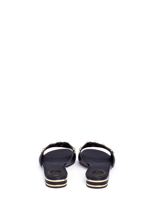 Back View - Click To Enlarge - René Caovilla - Strass pearl appliqué leather slide sandals