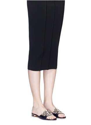 Figure View - Click To Enlarge - René Caovilla - Strass pearl appliqué leather slide sandals