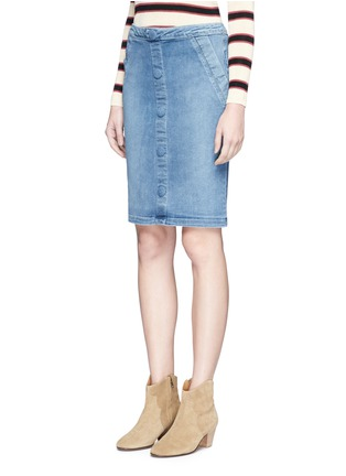 Front View - Click To Enlarge - Frame Denim - 'Le Pencil' button denim skirt