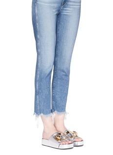 Stella LunaTurnlock buckle leather platform slide sandals