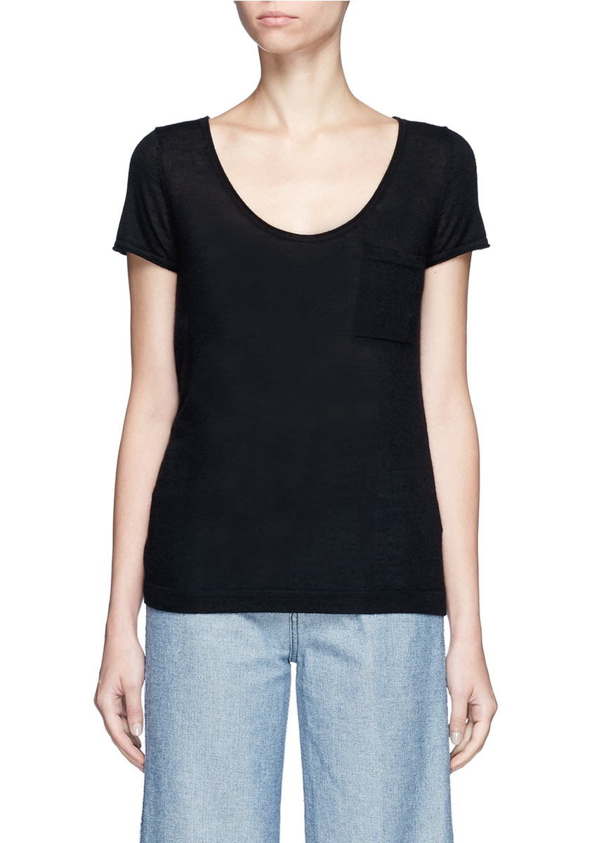 Cashmere short sleeve pocket sweater by CRUSH Collection
