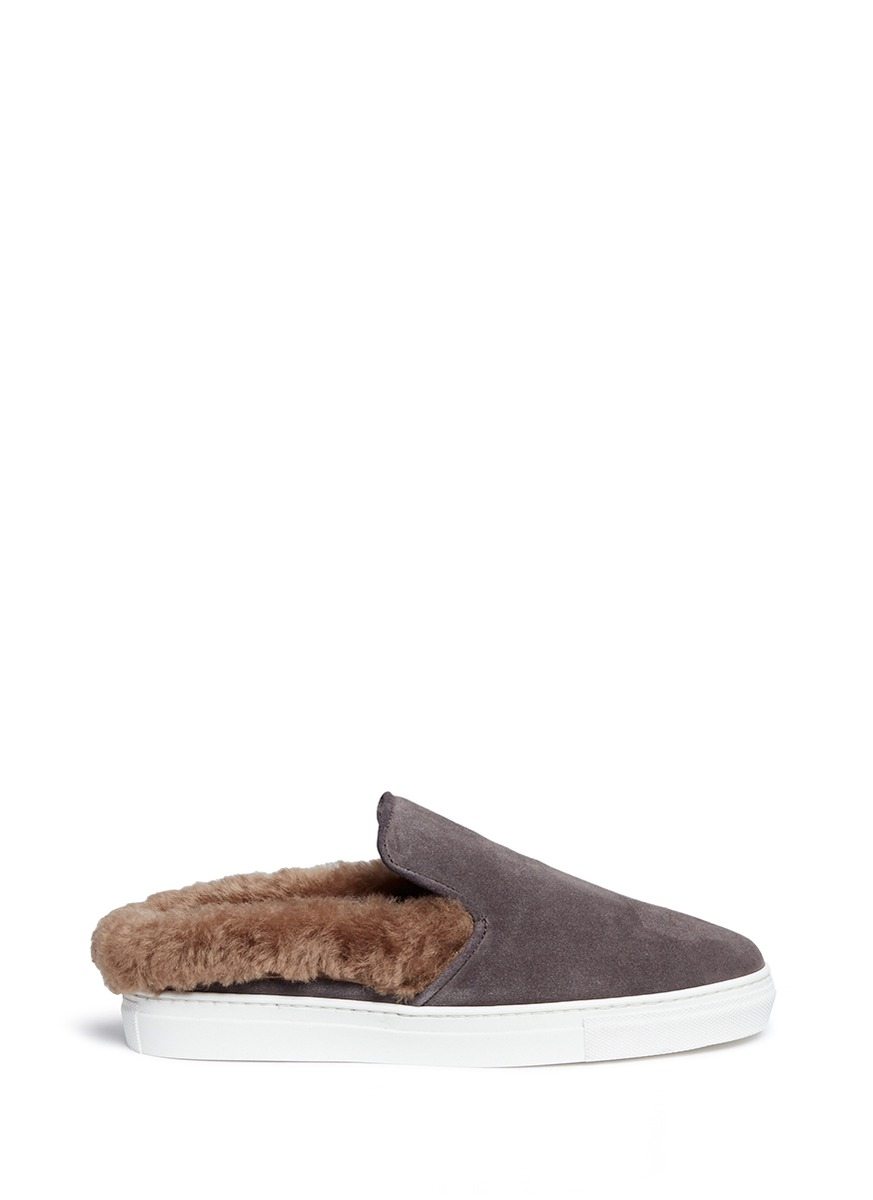Softy Antracite fur shearling suede skate slides by Fabio Rusconi