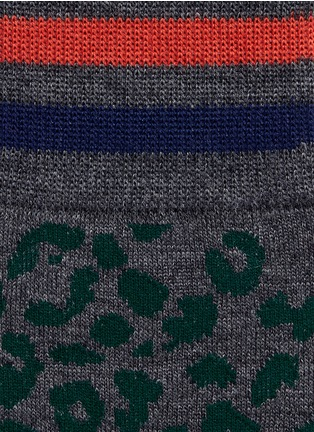 Detail View - Click To Enlarge - kolor - Leopard intarsia wool socks