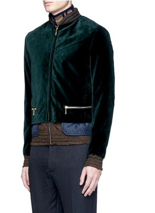 Front View - Click To Enlarge - kolor - Tech fabric underlay velvet bomber jacket