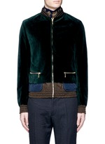Tech fabric underlay velvet bomber jacket