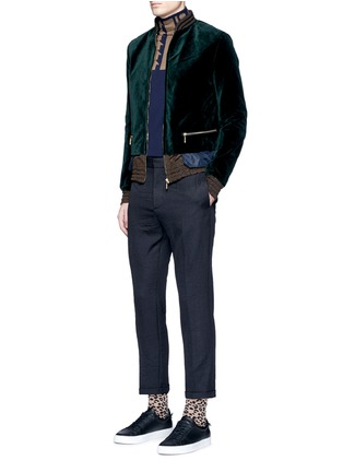 Figure View - Click To Enlarge - kolor - Tech fabric underlay velvet bomber jacket