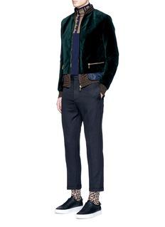 kolorTech fabric underlay velvet bomber jacket