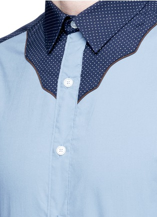 Detail View - Click To Enlarge - kolor - Polka dot Western yoke cotton shirt
