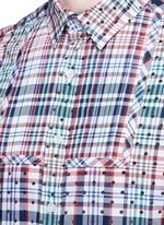 Polka dot patch check plaid bib shirt