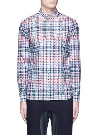 Main View - Click To Enlarge - kolor - Polka dot patch check plaid bib shirt