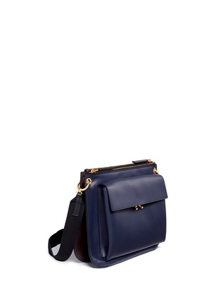 Front View - Click To Enlarge - Marni - 'Bandoleer' detachable pouch leather shoulder bag