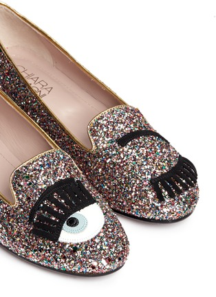 Detail View - Click To Enlarge - Chiara Ferragni - 'Flirting Eye' leather embroidery glitter slip-ons