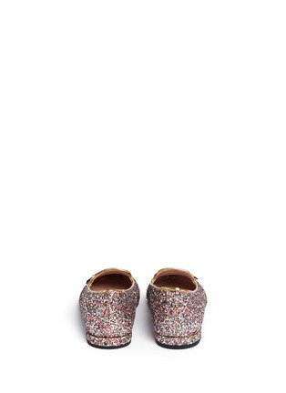Back View - Click To Enlarge - Chiara Ferragni - 'Flirting Eye' leather embroidery glitter slip-ons
