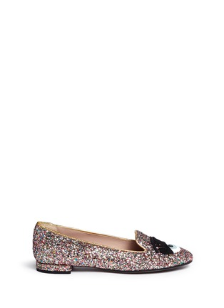 Main View - Click To Enlarge - Chiara Ferragni - 'Flirting Eye' leather embroidery glitter slip-ons