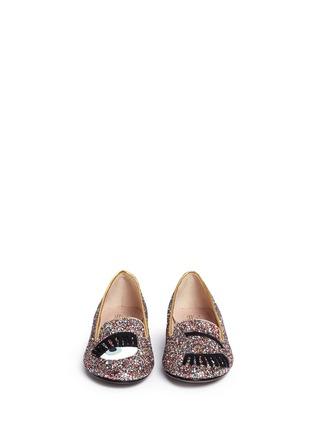 Figure View - Click To Enlarge - Chiara Ferragni - 'Flirting Eye' leather embroidery glitter slip-ons