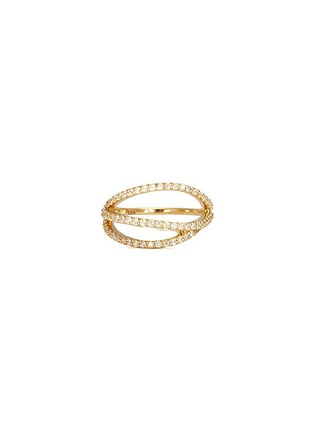 Phyne By Paige Novick - Lily' 18k gold diamond pavé curved line ring