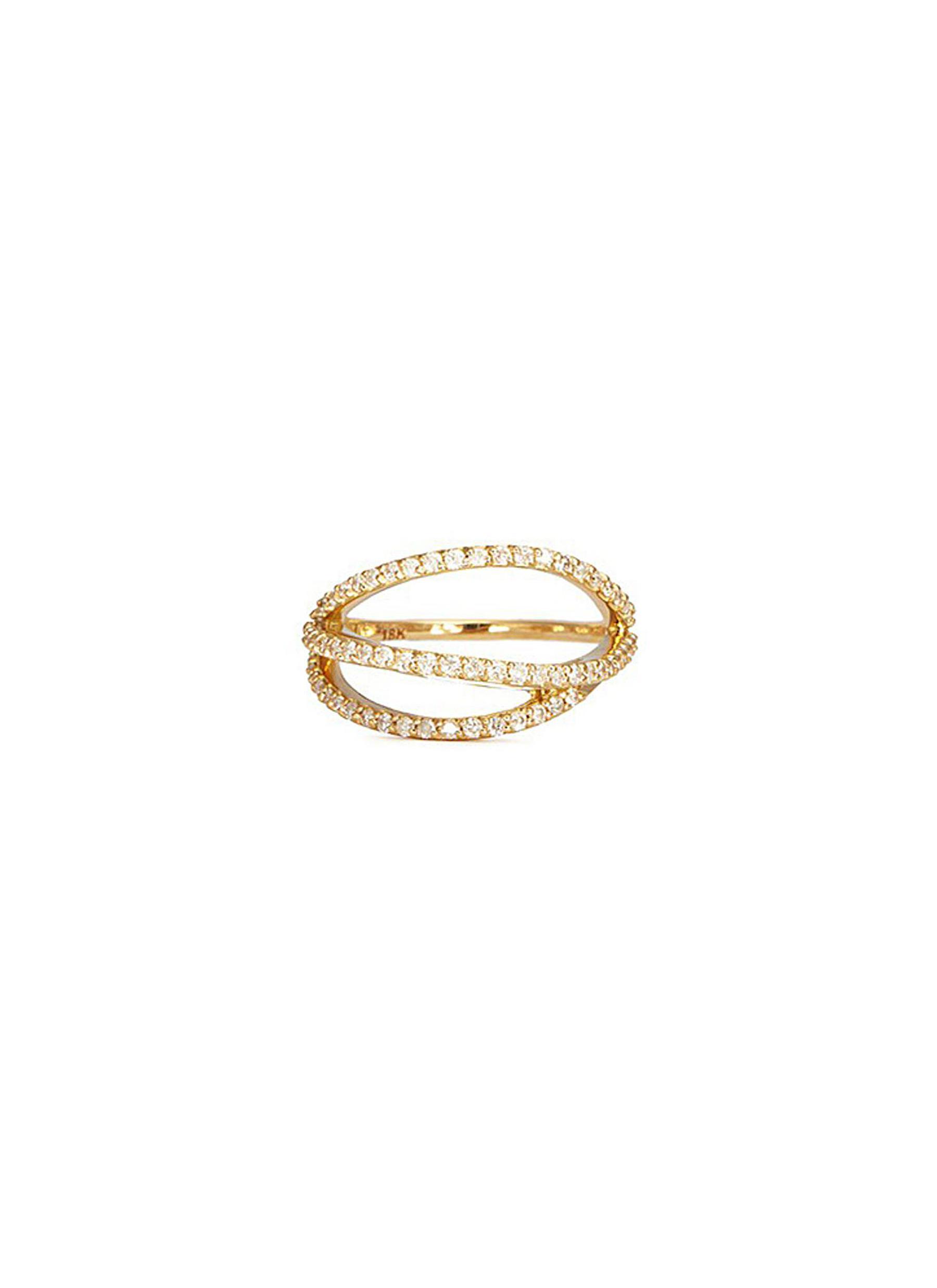 Lily 18k gold diamond pavé curved line ring by Phyne By Paige Novick