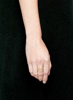 Lily' 18k gold diamond pavé curved line ring