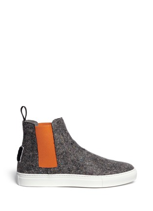 Main View - Click To Enlarge - MSGM - Towel logo felt high top skate slip-ons