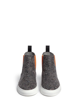 Figure View - Click To Enlarge - MSGM - Towel logo felt high top skate slip-ons