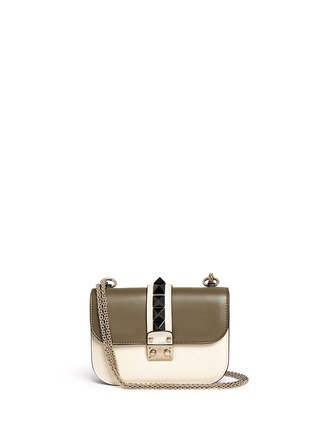 Main View - Click To Enlarge - Valentino - 'Rockstud Lock' small leather chain bag