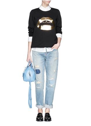 Figure View - Click To Enlarge - MARKUS LUPFER - 'Lara Lip' foil print sweatshirt