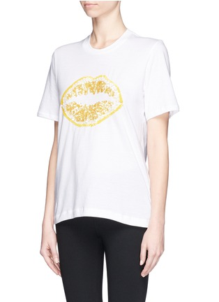 Front View - Click To Enlarge - MARKUS LUPFER - 'Lemon Smacker Lip' sequin Alex T-Shirt